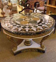 TAB 025 Pietre Dura Center Table | Plantation Antique Galleries U2014 604 Bel  Air Blvd