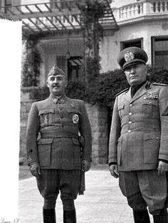 """Il Duce, Benito Mussolini and Francisco Franco """"El Cuadillo"""" in Bordighera, Italy  (12-2-1941)"""