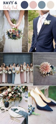 dusty pink and dark blue fal wedding inspiration with dismated bridesmaid dresses