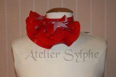 Red fantasy ruffle neck asymmetric collar by AtelierSylphecorsets