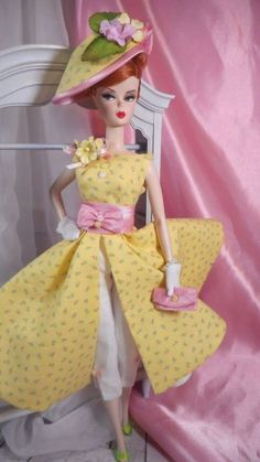 Vintage Repro Barbie Silkstone FR Poppy Parker Fashion Handmade Dress OOAK /Mary