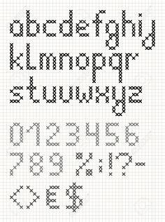 Point De Croix Alphabet Anglais Avec Des Chiffres Et Des Symboles. Lettres Minuscules Clip Art Libres De Droits , Vecteurs Et Illustration. Image 23984353.