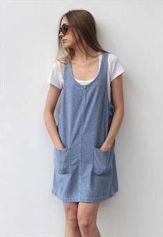 Vintage 1980's Blue Cotton Mini Denim Dungaree Dress