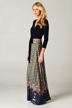 Vestido largo con falda de estampado oriental