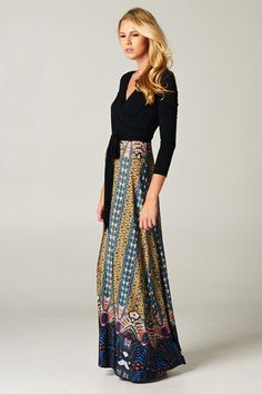 maxi dress with patterned skirt