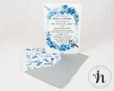 "Invitatii nunta vintage cu flori albastre si pasarele – ""ISABELLA"" Love Story, Container, Vintage, Vintage Comics"