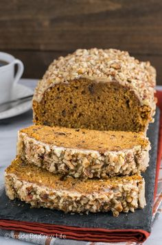 Pumpkin Pecan Bread - this delicious fall pumpkin bread has a sweet praline pecan glaze making it perfect for breakfast or as a snack