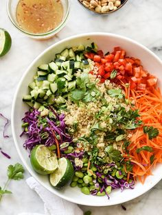 This power salad combines protein-packed grains with the healing nutrients from fresh veggies, for a lime-infused flavor bomb with crunch in each bite.
