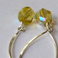 Earrings pale citrine yellow czech glass  by planettreasures, $10.00