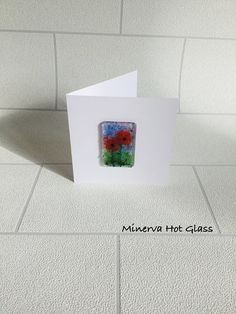 Fused Glass Greeting Card, Handmade, Red Poppy Flower, Floral Gifts, Hand crafted by Minerva Hot Glass Glass Wall Art, Fused Glass Art, Red Poppies, Tea Light Holder, Greeting Cards Handmade, Glass Ornaments, Tea Lights, Poppy, Hot