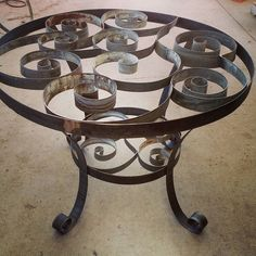 Dining table made from retired wine barrel rings!!
