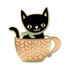 Pour a fresh cuppa kitty! Youll be feline good with this ready to wear cup o flair. Share your flair! #pingame  • Shiny gold enamel pin • Butterfly clasp • Packaged in a clear sleeve with backer card • Approx 1/2 wide x 1 tall [1.27 x 2.54 cm]  This item was designed by the team at Night Owl Paper Goods. Our style is an innovative blend of bountiful botanicals, playful patterns and carefree critters. From our designs to our business practices, nature inspires and influences everything we...
