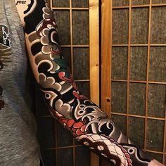 Japanese tattoo sleeve by @ian_ildet.  #japaneseink #japanesetattoo #irezumi #tebori #colortattoo #colorfultattoo #cooltattoo #largetattoo #armtattoo #tattoosleeve #snaketattoo #flowertattoo #chrysanthemumtattoo #blackwork #blackink #blacktattoo #wavetattoo #naturetattoo