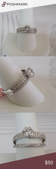 Simulated Diamond  Ring Set in Sterling Silver Simulated Diamond (Rnd) Ring Set in Sterling Silver Nickel Free (Size 10) TGW 3.050 cts. Jewelry Rings