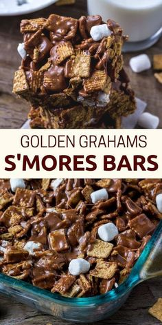 These golden grahams s'mores bars will be your new favorite way to enjoy s'mores. Gooey, chewy, crunchy and filled with chocolate. Recettes de cuisine Gâteaux et desserts Cuisine et boissons Cookies et biscuits Cooking recipes Dessert recipes Smores Dessert, Bon Dessert, Smores Bar Recipe, Appetizer Dessert, Easy Dessert Bars, Smores Cups, Baked Smores, Simple Dessert, Appetizers