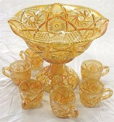 Whirling Stars Punch Set Dining Ware, Punch Bowl Set, Pickle Jars, Indiana Glass, Fenton Glass, Carnival Glass, Amber Glass, Antique Glass, Candy Dishes