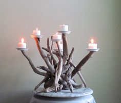 Custom Listing for Emma Silver Driftwood Six Candles Candelabra and Silver Tall Thin Vase Without Shipping Charges