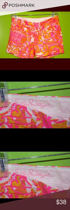 Lilly Pulitzer size 6 Callahan shorts Callahan shorts in popular 'Sea and Be Seen' pattern. Design color is Lilly's Sunglow Yellow featuring a neon pink. Perfect for summer in Excellent condition. Lilly Pulitzer Shorts