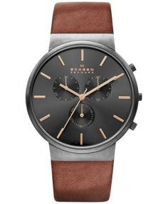 Skagen Men's Chronograph Ancher Brown Leather Strap Watch 40mm SKW6106