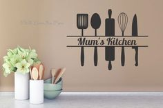Mum's Kitchen with Utensils Kitchen Wall Decals Wall Art Sticker kitchen wall decor pictures - Kitchen Decoration Simple Wall Paintings, Creative Wall Painting, Wall Painting Decor, Art Decor, Decor Ideas, Kitchen Wall Decals, Kitchen Wall Stickers, Wall Decor Stickers, Kitchen Art