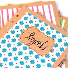 Next section is for my projects ;) I love the kraft paper, scrapbooking paper, and die-cut label dividers
