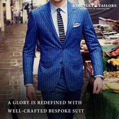 Men's Suit Elegant Custom Made Striped Mens Suit Single Breasted-Suit-LeStyleParfait.Com Mens Pinstripe Suit, Blue Suit Men, Mens Fashion Suits, Mens Suits, Man Fashion, Fashion 2020, Latest Fashion, Fashion Design, Party Wear Blazers