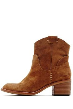 """This pull on ankle boot from Dolce Vita is a little casual and a little bit chic. All suede in a gorgeous tan color. Stacked wood heel. A great cowboy inspired boot in suede with street style. Pair with cropped skinnies or tights and skirts!    Heel height: 2""""   Grayden Suede Bootie by Dolce Vita. Shoes - Booties Syracuse, New York"""
