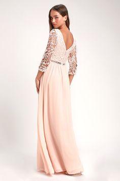 96a4288e64733 Avalynn Blush Three-Quarter Sleeve Lace Maxi Dress Chiffon Maxi, Lace Maxi,  Bridesmaid