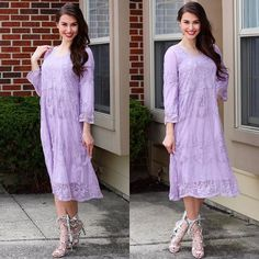 """Lavender and Lace= This truly is the must-have color of the season...we just can't get enough! Shop our """"Aubrey"""" Midi Dress and """"Helena"""" Snakeskin HeelsPIPERSTREETSHOP.com #piperstreet #piperstreetshop"""