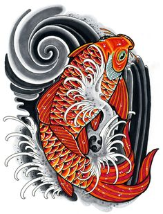 Koi drawing inspired by Japanese Tattoo art. Done with Copic Markers