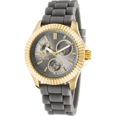 Invicta Women's Angel Multi-Function Grey Silicone And Dial Gold-Tone... ($81) ❤ liked on Polyvore featuring jewelry, watches, grey, buckle jewelry, invicta wrist watch, gold-face watches, invicta watches and silicon watches
