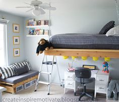 Hanging Bed - this is what I'm thinking for E and A's room but with an attached railing and ladder.