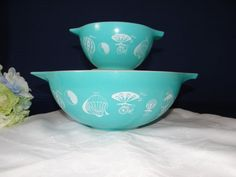 1958 Pyrex Promotional Set - White on Turquoise Balloons Cinderella Bowl Chip and Dip Bowls Series 395 - Mid Century Retro on Etsy, $195.00