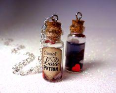 Items similar to One Custom Eternal Love Potion - Glass Bottle Cork Necklace - Potion Vial Charm - Liquid Shimmer - Magic Spells on Etsy Bottle Necklace, Cork Necklace, Bottle Jewelry, Bottle Charms, Diy Jewelry, Jewellery, Magic Bottles, Bottles And Jars, Perfume Bottles
