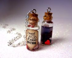 One Custom Eternal Love Potion - Glass Bottle Cork Necklace - Potion Vial Charm - Liquid Shimmer - Magic Spells