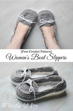 Free Crochet Pattern - Get the free pattern for these comfy and cute boat shoes slippers! {Pattern by Whistle and Ivy} Sie Hausschuhe Ballett Women's Crochet Boat Slippers - Free Crochet Pattern - Whistle and Ivy Crochet Gratis, Crochet Diy, Crochet Ideas, Easy Crochet Socks, Crochet Boat, Knitting Patterns, Crochet Patterns, Crochet Slipper Pattern, Slippers Crochet