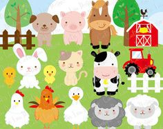 Barn Animal Faces Cute Digital Clipart - Commercial Use OK - Farm Animals, Barn…