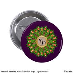 Peacock Feather Wreath Zodiac Sign Capricorn Round Button (All Zodiac Symbols Available)
