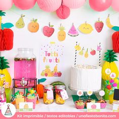 Hello! Welcome to a beautiful party Celebrate a beautiful birthday celebration with the theme of tutti frutti, ideal to celebrate the smaller House, a summer party or a baby shower. Cute fruits to decorate a refreshing corner at home or outdoor. Your purchase contains: 1 wreath (8 fruit design) 2 pieces of paper for the food (editable texts) 3 labels for favors (editable texts) 4 multi-purpose toppers 5 papers of colors to decorate the straws 6 labels for bottles (4 designs) 7 Wrappers…