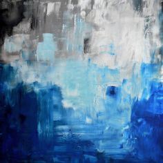 36 ORIGINAL ABSTRACT White Gray Blue Black Painting on by itarts