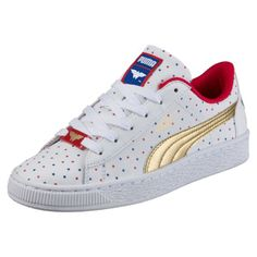 5dfb2875d77 Image 1 of Basket Wonder Woman™ Girls Trainers in Puma White-Puma Team Gold