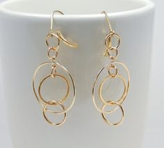 Gold Multi Circle Earrings   Bestseller by MalibuJewel on Etsy, $68.00