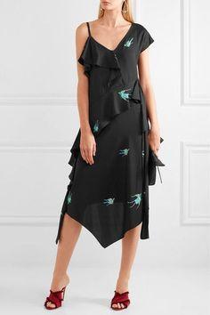 Diane von Furstenberg - Draped Printed Silk-blend Midi Dress - Black - US