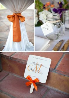 Orange and Purple Backyard Texas Wedding @Lydia Squire Purdham cute idea for the mason jars