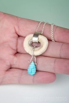 Antler Bone and Turquoise Pendant in Sterling by JujuBySarah (I SO want this pendant!!!)