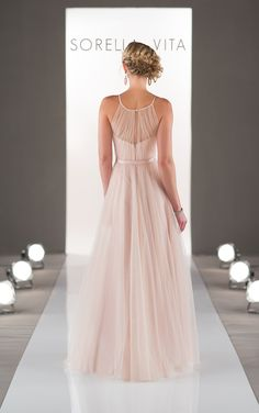 Feminine and flirty sheath style bridesmaid dress from the Sorella Vita designer collection features a high illusion neckline in soft, flowy tulle. #bridesmaid