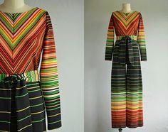 Vintage 70s Jumpsuit / 1970s Bold Ombre Chevron by zestvintage, $108.00