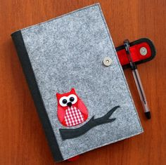 Refillable Felt Journal Cover, Felt Notebook Cover, Fabric Planner Cover, Reusable Diary Cover Decorated with Owl, Elegant Gift for Her Graph Notebook, Diy Notebook, Notebook Covers, Journal Covers, Felt Fabric, Fabric Art, Diy Home Crafts, Felt Crafts, Fabric Book Covers