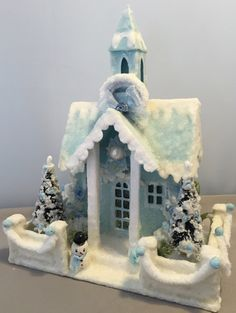Glitter Putz Church House Christmas Village Dwelling Blue Vintage by…