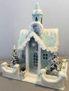 Glitter Putz Church House Christmas Village Dwelling Blue Vintage by…